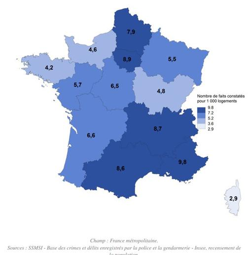 nombre de cambriolages en france